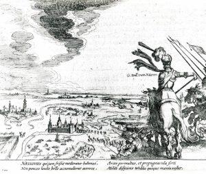 Gravure inname van Wedde door Willem Lodewijk in 1632